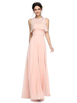 Lanting Bride® עד הריצפה שיפון שני חלקים / כולל עטיפה שמלה לשושבינה - גזרת A סטרפלס עם סרט