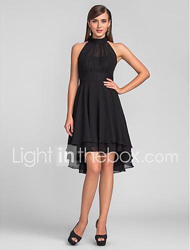43798bd4241d Γραμμή Α Δένει στο Λαιμό Ασύμμετρο Σιφόν Μικρό Μαύρο Φόρεμα / Κοντό Μπροστά  Μακρύ Πίσω /
