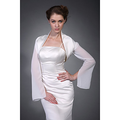 Wedding Wraps Coats/Jackets Chiffon / Satin Ivory Wedding / Party/Evening High Neck Hanging Sleeves Open Front
