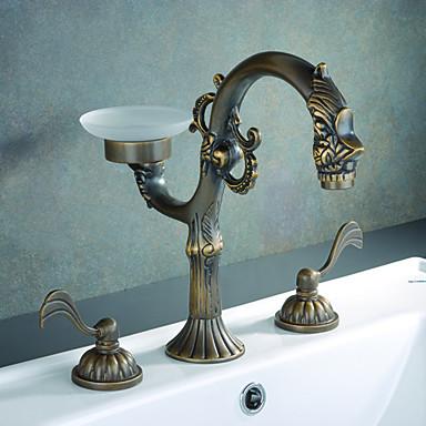 Antique Brass Finish Bathroom Sink Faucet Widespread 84360 2016