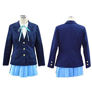 Buy Inspired K-ON Hirasawa Yui Anime Cosplay Costumes Suits / School Uniforms Solid Blue Long Sleeve Coat Shirt Skirt Cravat