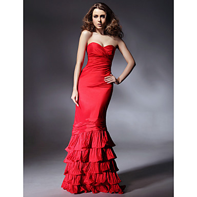 TS Couture Prom Formal Evening Military Ball Dress - Open Back Celebrity Style Trumpet / Mermaid Strapless Sweetheart Floor-length Taffeta