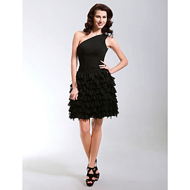 TS Couture Cocktail Party Sweet 16 Dress - Little Black Dress A-line Princess One Shoulder Short / Mini Chiffon with Side Draping