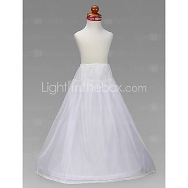 Flower girl taffeta a line full gown 2 tier floor length for Full length slip for wedding dress