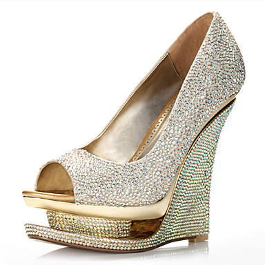 lgant satin talon compens - Chaussure Mariage Compense