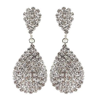 """Earring Silver Plated Rhinestone Teardrop Drop Earrings Jewelry Women / Girls Wedding / Party 1.57""""*1.97"""" Alloy / Rhinestone 1 pair White"""