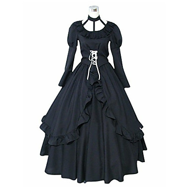 Buy Inspired D.Gray-man Lenalee Lee Anime Cosplay Costumes Suits / Dresses Solid Black Long Sleeve Dress