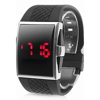 Buy Men's Watch Red LED Digital Rectangle Dial Silicone Strap Wrist Cool Unique