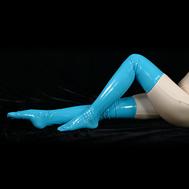 Buy Socks/Stockings Ninja Zentai Cosplay Costumes Blue Solid Stockings PVC Unisex Halloween / Christmas