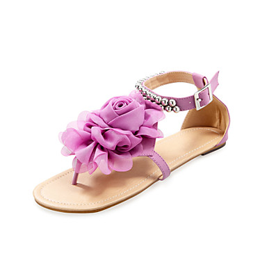 Buy Women's Shoes Leatherette Flat Heel Sandals Beaded Ankle Strap & Satin Flower Colors Available