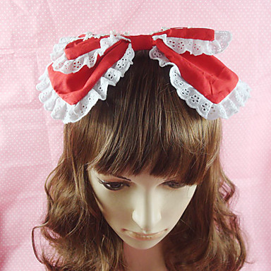 Buy Lolita Jewelry Sweet Headwear Princess Red / Black Pink Blue Accessories Headpiece Bowknot Solid Women Cotton