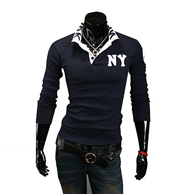Men's Solid Casual T-Shirt Long Sleeve-Blue / White