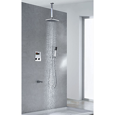 moderne thermostat messing lcd dusche wasserhahn mit 8 zoll duschkopf handbrause platz 568371. Black Bedroom Furniture Sets. Home Design Ideas
