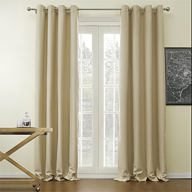 (One Panel) Beige Solid Classic Blackout Curtain