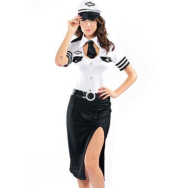 charme sexy blanc et noir nylon spandex uniforme de pilote 4 pieces de 581051 2016. Black Bedroom Furniture Sets. Home Design Ideas