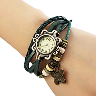 Buy Women's Butterfly Pendant Leather Band Quartz Analog Bracelet Watch (Assorted Colors) Cool Watches Unique Fashion