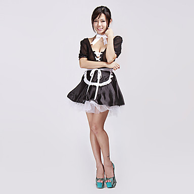 sexy lingerie black cute lace up french maid halloween