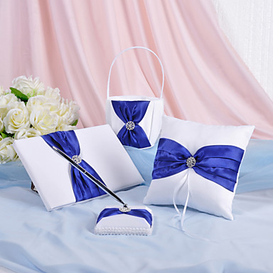 Buy 4 Collection Set White / Blue Guest Book Pen Ring Pillow Flower Basket