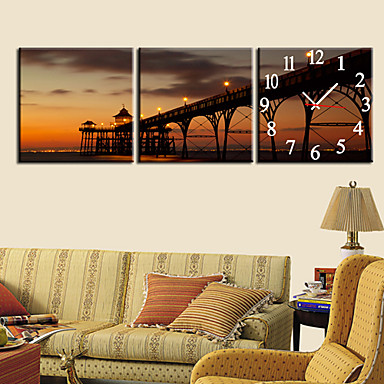 """12""""-24""""Country Style Brige Wall Clock In Canvas 3pcs"""