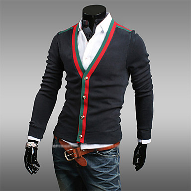 Men's Casual/Daily Cardigan,Solid Long Sleeve Cotton Polyester