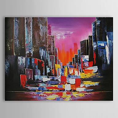 Hand Painted Oil Painting Landscape City with Stretched Frame 1309-LS1016