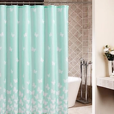 Shower Curtain Light Green Butterfly Thick Fabric Water Resistant W71 X L78 903934 2017