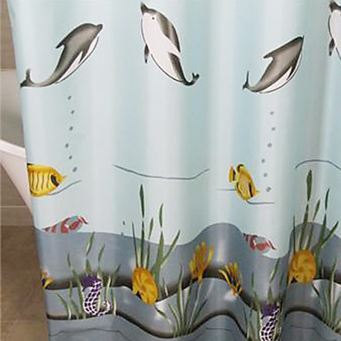 Shower Curtain Polyester Dolphin Print Thick Fabric Water Resistant W71 X L78 904107 2017