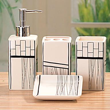 Accessori da bagno Set, 4 pezzi rettangolo di ceramica Bagno Ensemble con la ...