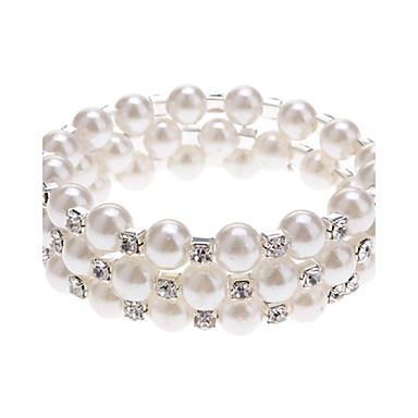 (1 Pc) Classic 6Cm Women'S 3 Layers Pearl Bracelet