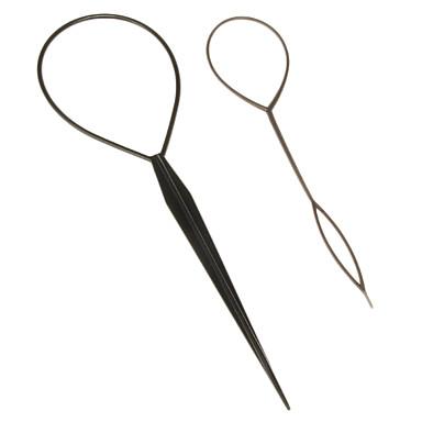 (2 Pcs)Sweet Black Plastic Dish Hair Tool For Women