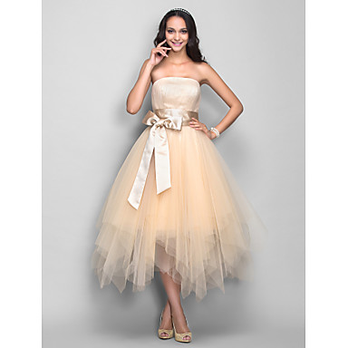TS Couture® Cocktail Party / Homecoming / Holiday Dress - 1950s Plus Size / Petite A-line Strapless Tea-length Tulle with Draping / Sash / Ribbon