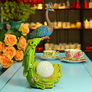 """12""""Country Style LED Lamp Peafowl Polyresin Collectible"""