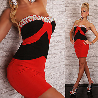Buy Two Color Strapless Wild Girl Silk Nightclub Sexy Party Uniform(For Size M)