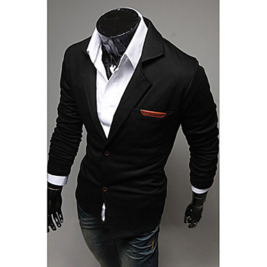 Men's Casual/Daily Work Simple Spring Fall Blazer,Solid Long Sleeve Regular