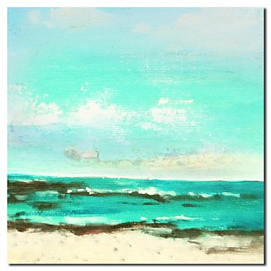 Hand Painted Oil Painting Landscape Beach Painting with Stretched Frame