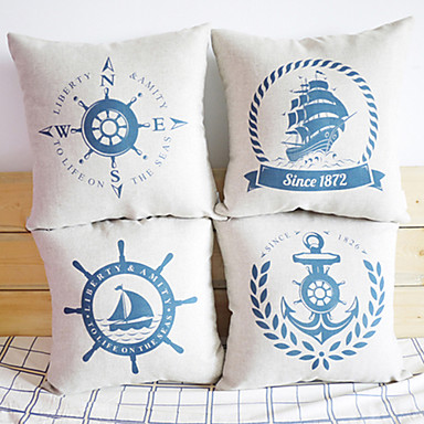 Buy Cotton/Linen Pillow Cover , Nautical Accent/Decorative
