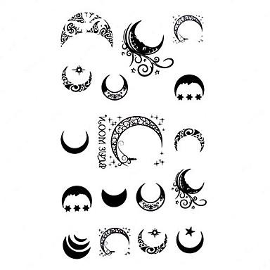 5 pi ces lune tatouage temporaire imperm able l 39 eau de 1145441 2016 - Tatouage de lune ...