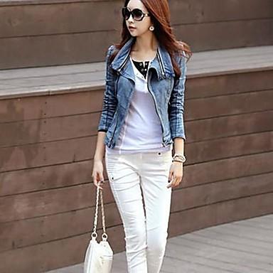 Women's Dismountable Collar Slim Long Sleeve Denim Blazer