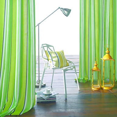 Dos paneles moderna rayas verde verde agua cyan for Cortina verde agua