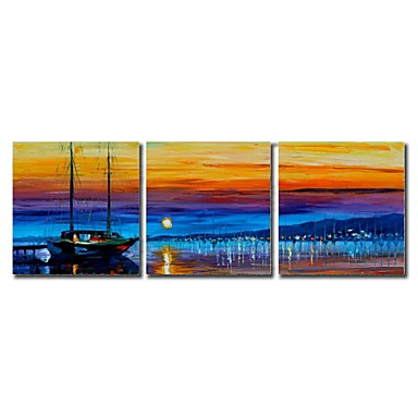 Hand Painted Oil Painting Landscape Fish Boat in The Night with Stretched Fra...