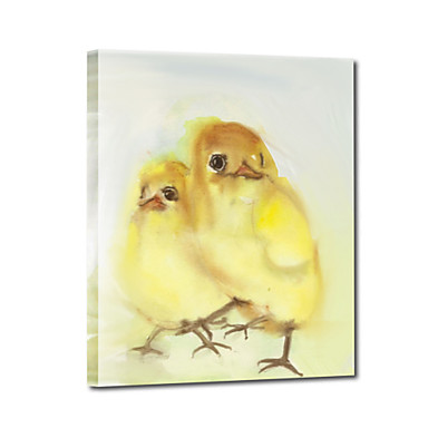Hand Painted Oil Painting Animal Two Little Yellow Birds with Stretched Frame