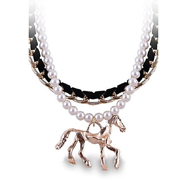 (1 Pc)Vintage (Double Pearl Horse) as Picture Alloy Strand Necklace