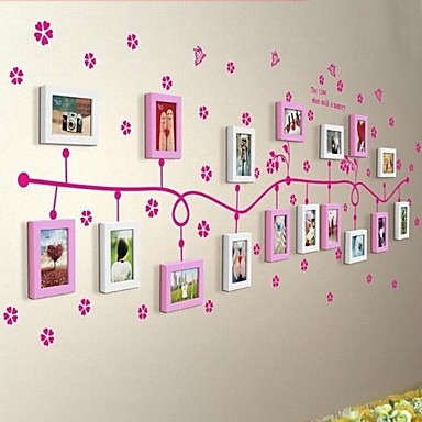 2 Colors Photo Frame Set of 17 with Flower Wall Sticker