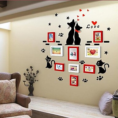 2 Colors Photo Frame Collection Set of 9 with Wall Sticker