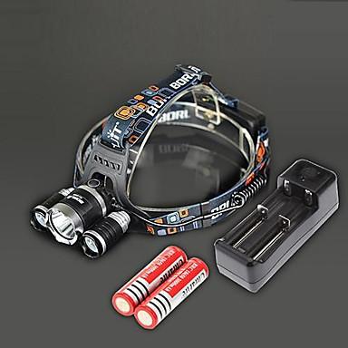 Buy BORUIT RJ-3000 4 Modes 3xCree XM-L T6 4000Lumens Rechargeable Headlamp(Black,2x18650) 18650 Battery(2pcs)&Charger