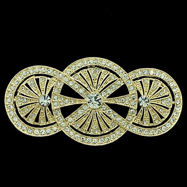 8.1cm Golden Round Flower Brooch Broach Pin with Clear Rhinestone Women Party...