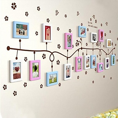 3 Colors Photo Frame Set of 17 with Flower Wall Sticker