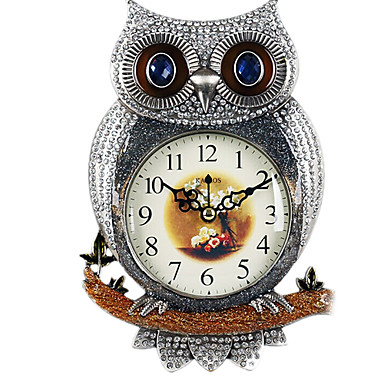 """11""""H Counrty Style Owl Design Silver Metal Wall Clock"""
