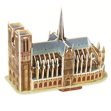 Buy Jigsaw Puzzles 3D Building Blocks DIY Toys Famous buildings Paper Brown / Gray Model & Toy