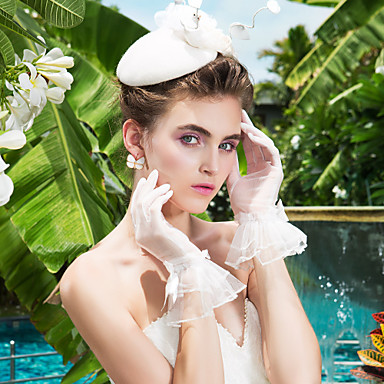 Buy Wrist Length Fingertips Glove Bridal Gloves Spring / Summer Fall White Bow